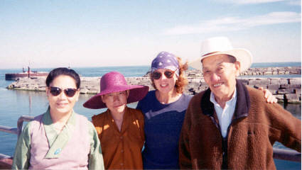 Dr. Choedrak returned for another tour during 1999. From left, Dr. Dolma, Ani Punthok, Amy Shurtz, and Dr. Choedrak